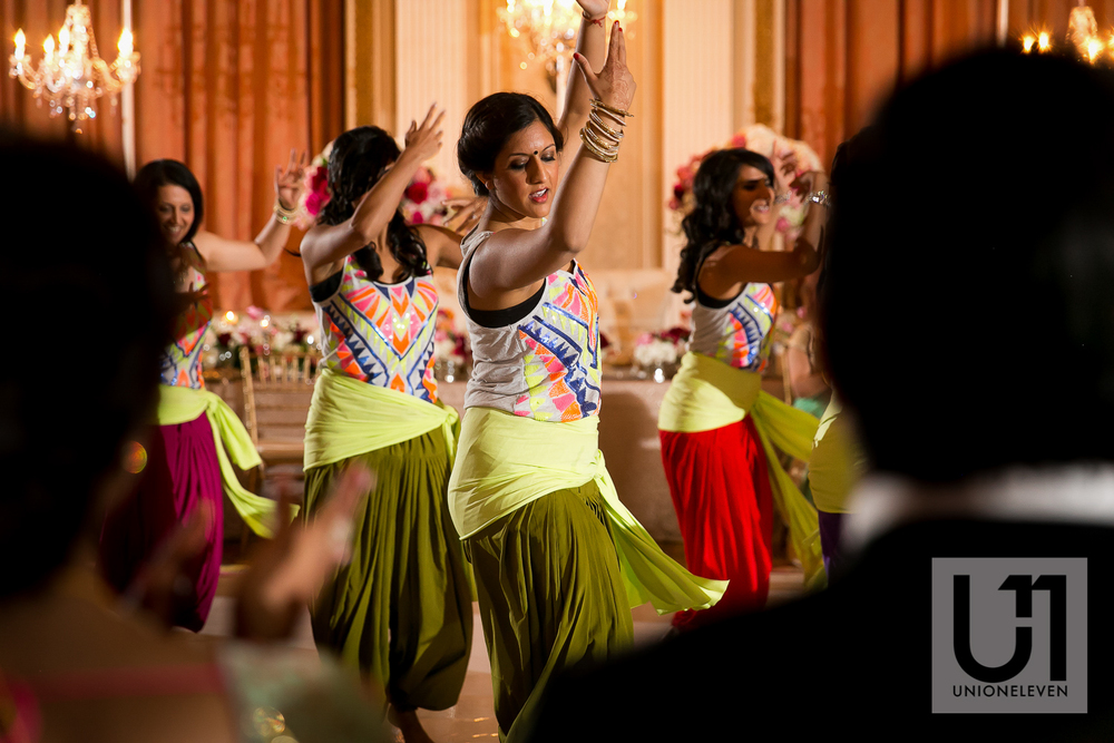 dancers at an indian wedding reception at le chateau laurier hotel in ottawa