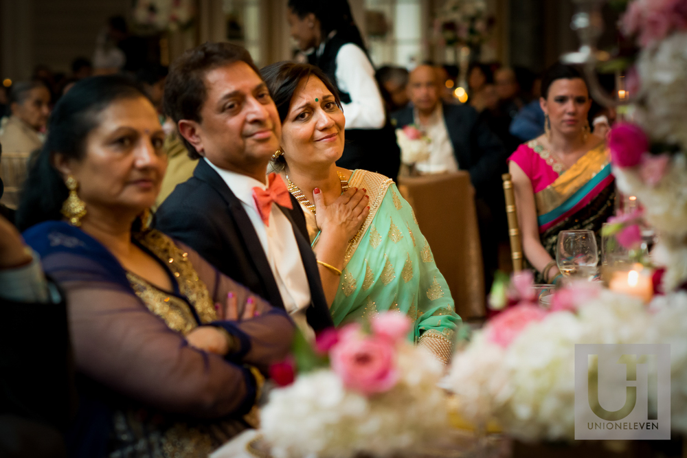 brides mom cries during a wedding speech