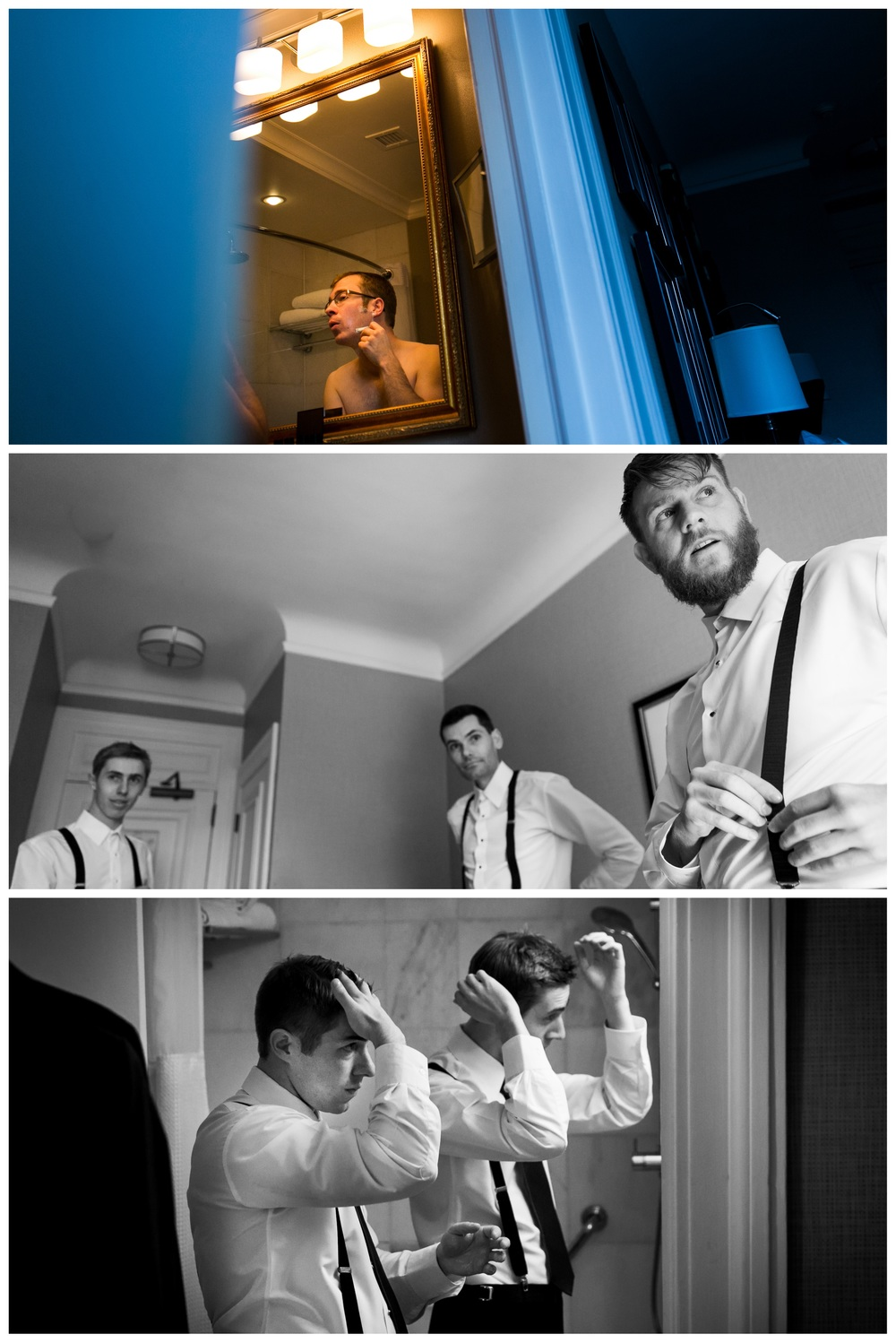 Groom getting ready for his wedding at the Chateau Laurier