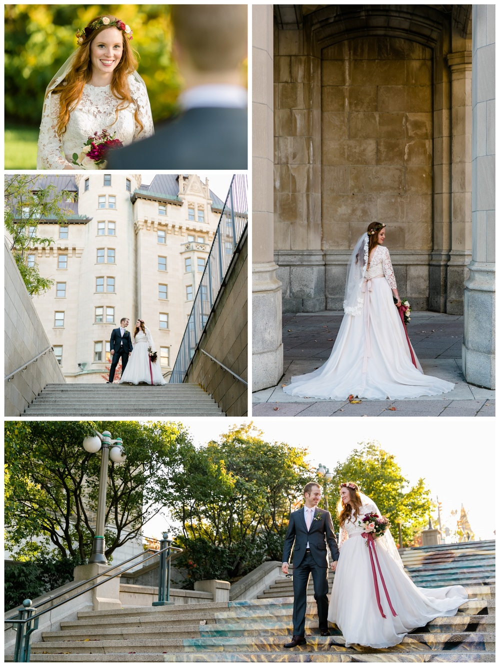 Photographs of a newly married couple outside the chateau laurier in ottawa
