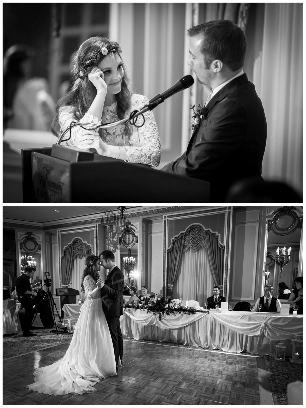 bride and groom giving a speech at their wedding reception