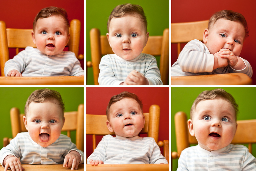 photographs of the many expressions of a baby