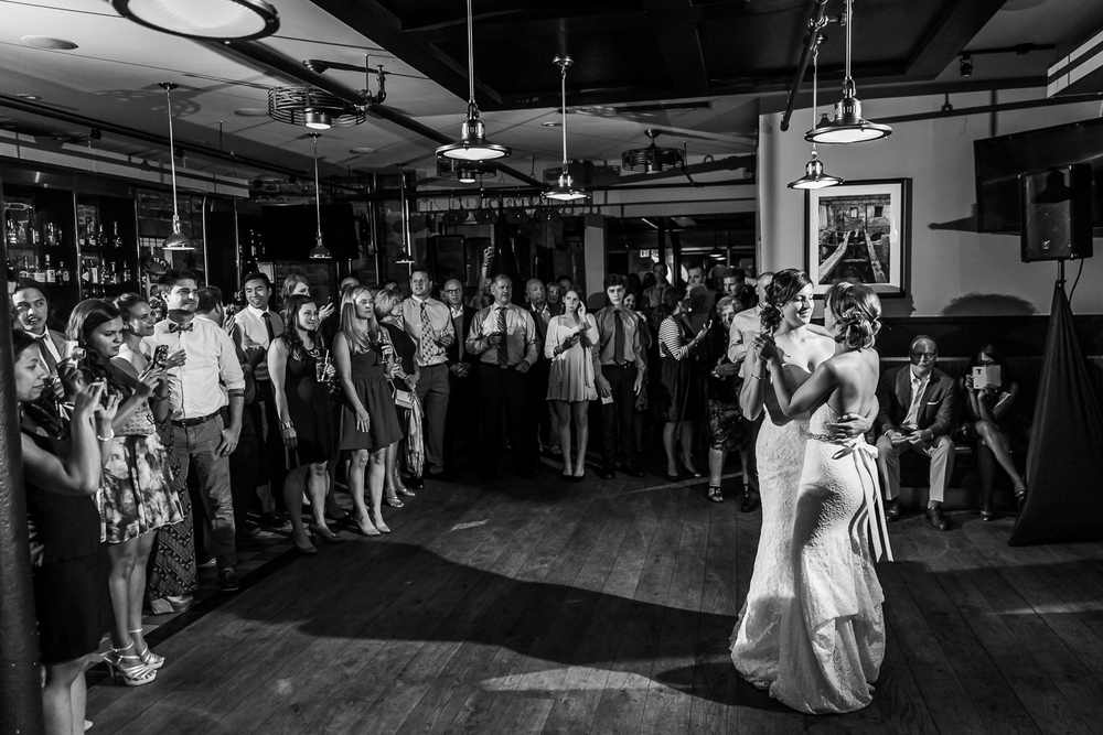 The brides during their first dance