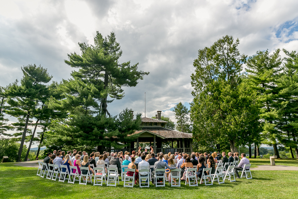 A photo of the all the guests during the wedding ceremony at the Rockcliffe Pavilion