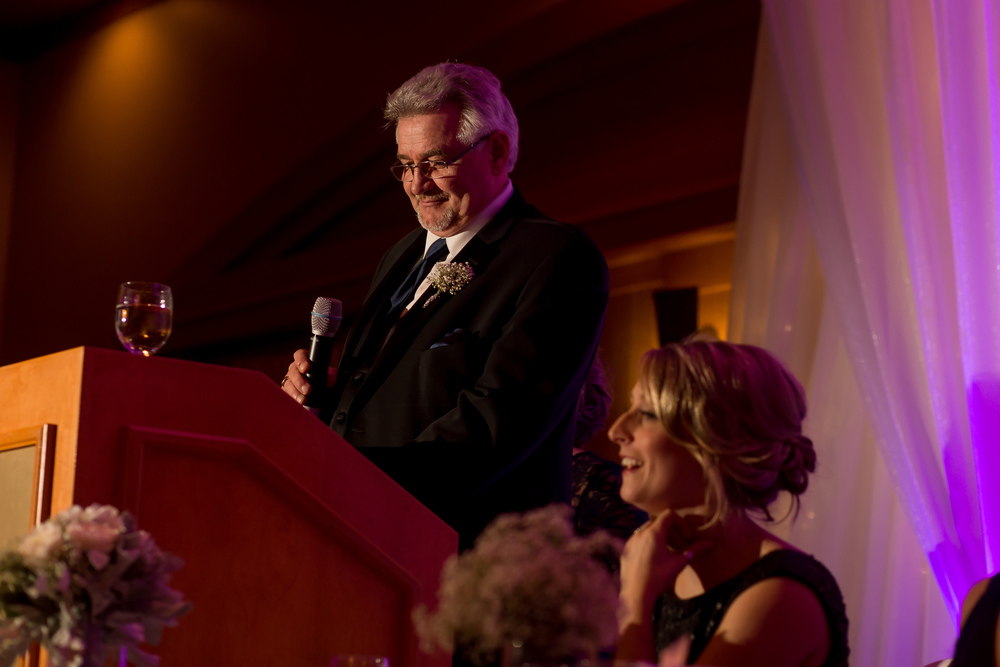The father of the bride giving his speech at the reception