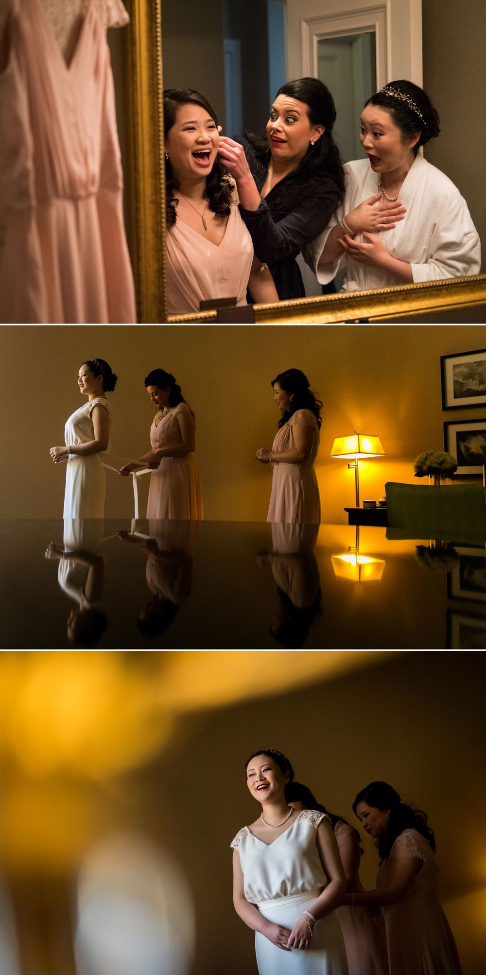 The bride with her bridesmaids getting ready at the Chateau Laurier
