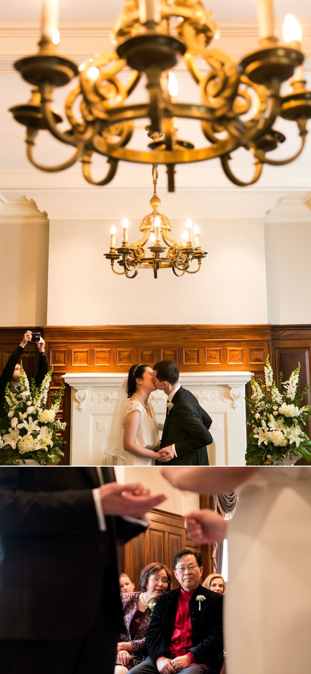 The bride and groom during their first kiss at their ceremony at the Chateau Laurier