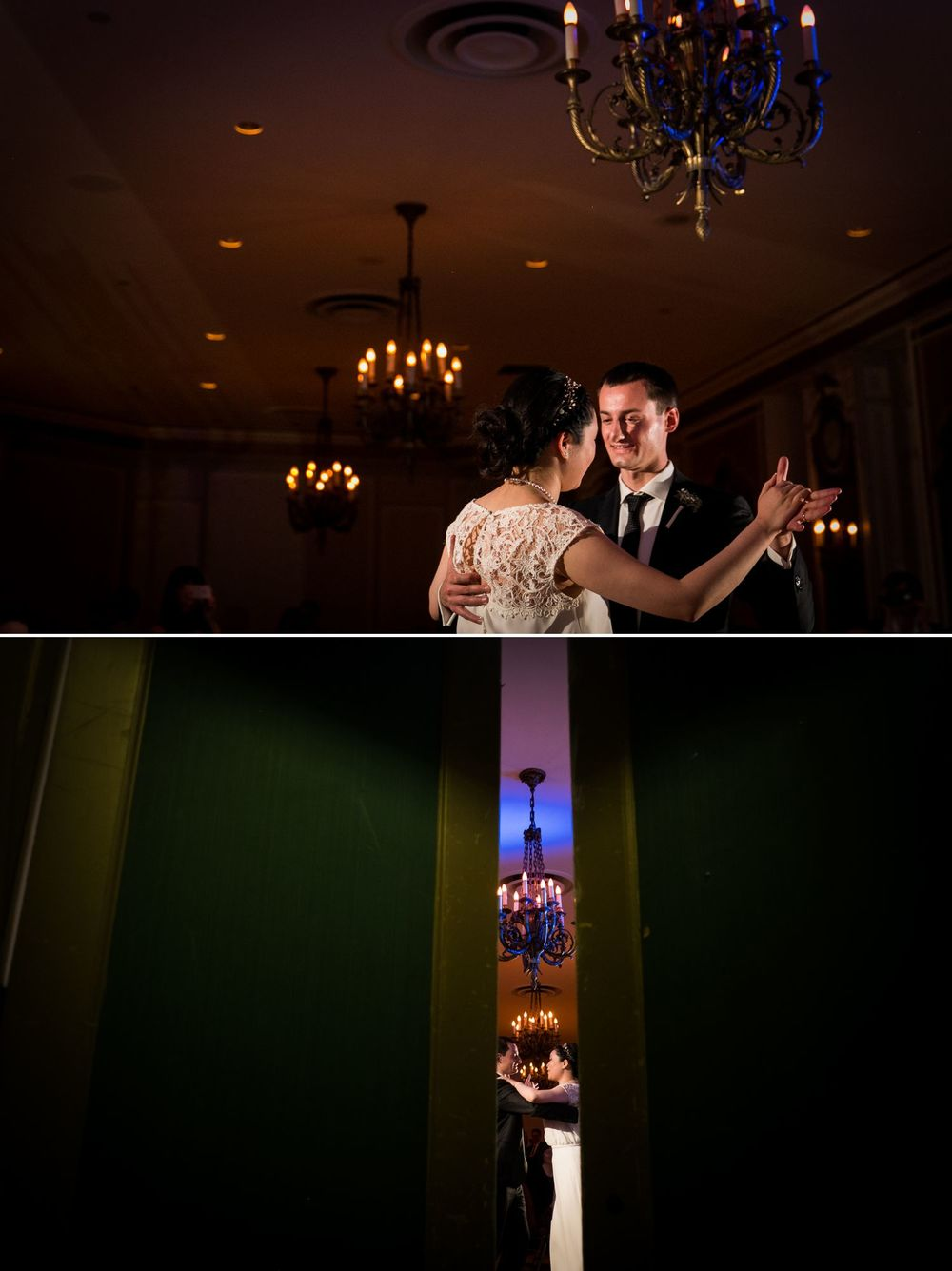 The bride and groom during their first dance during the reception at the Chateau Laurier