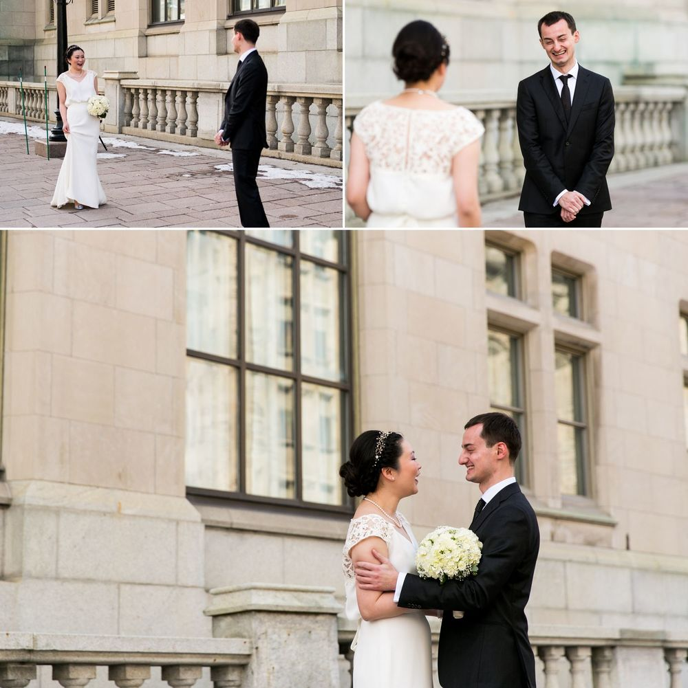 The bride and groom having portraits taken outside the Chateau Laurier