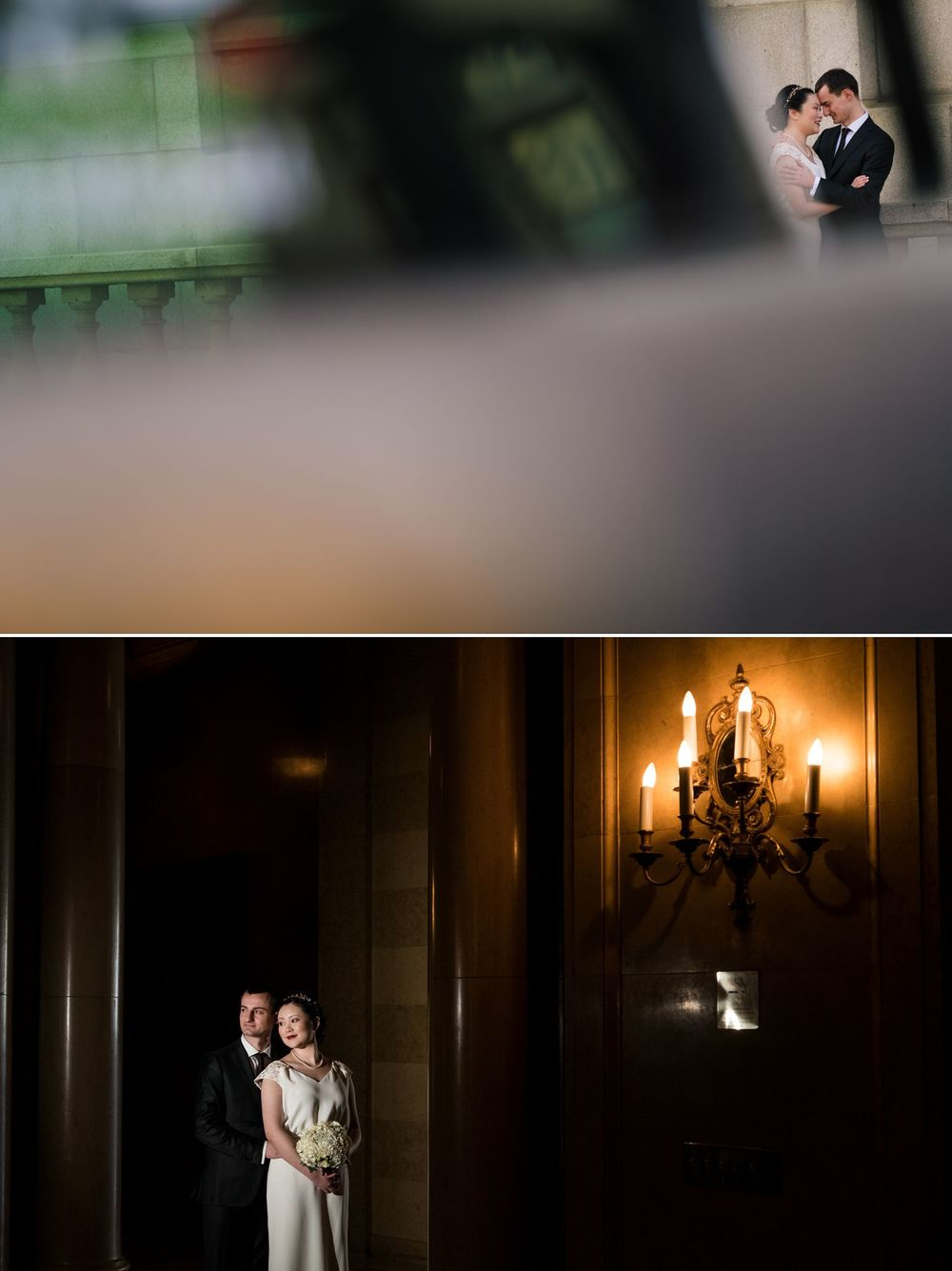 A portrait of the bride and groom inside the Chateau Laurier