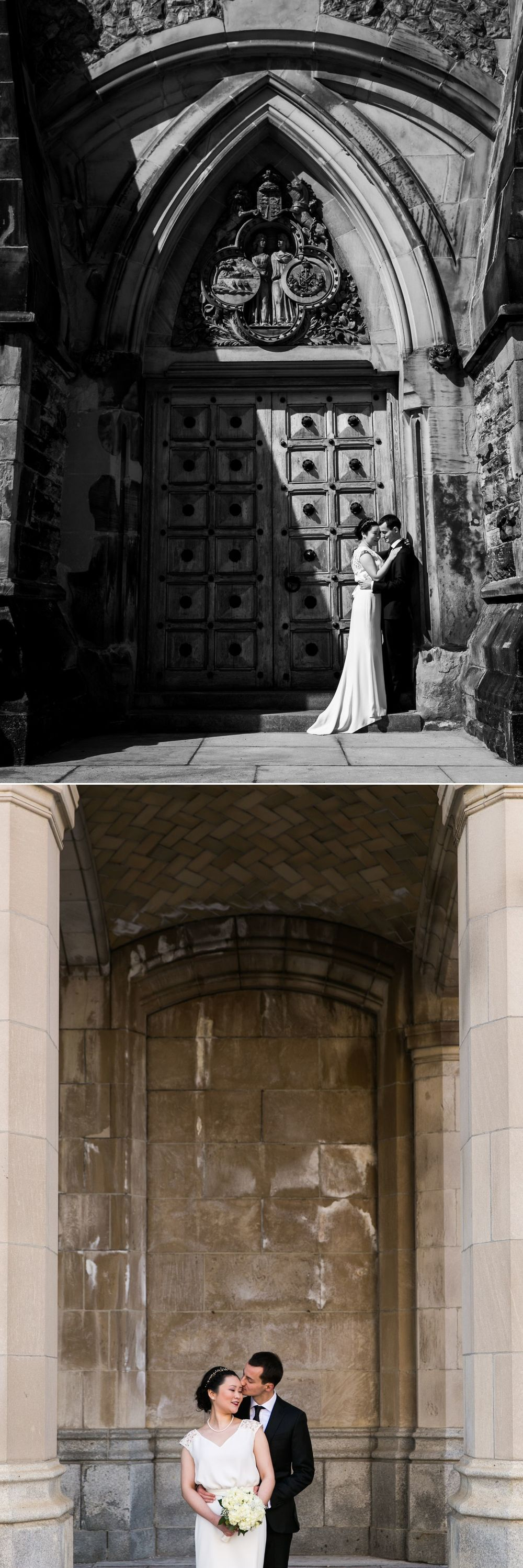 The bride and groom having their formal portraits taken outside the Parliament buildings and the Chateau Laurier