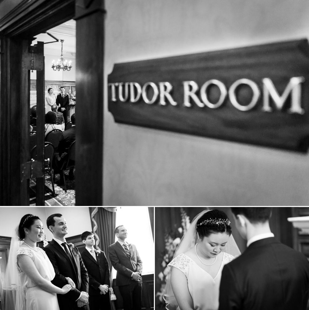 The bride and groom during their reception inside the Tudor Room at the Chateau Laurier