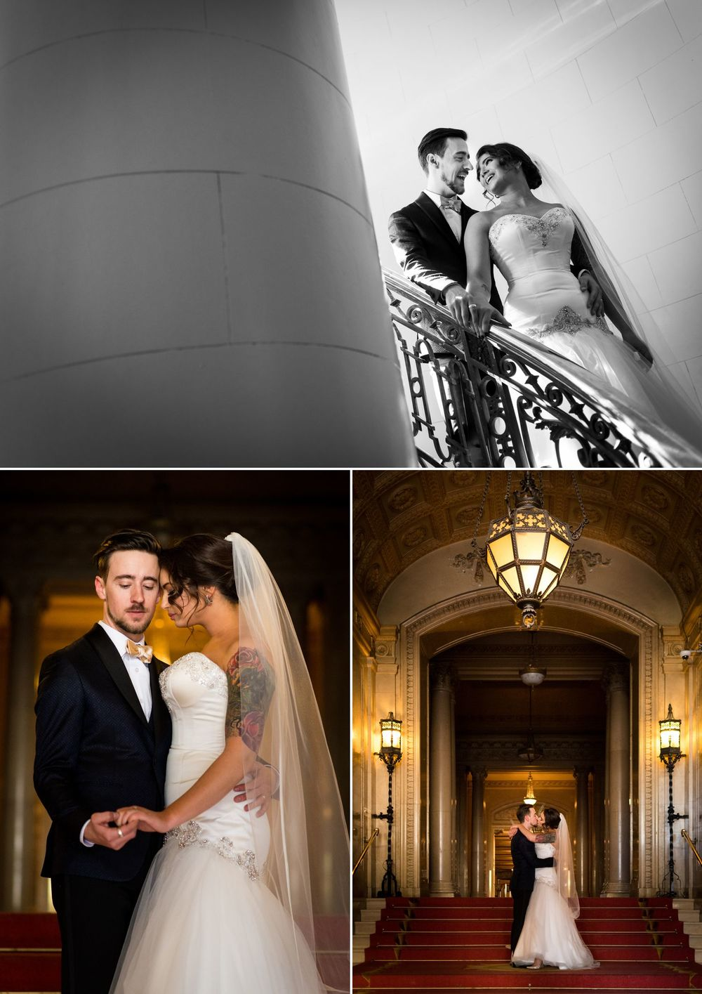 Portraits of the bride and groom at The Chateau Laurier
