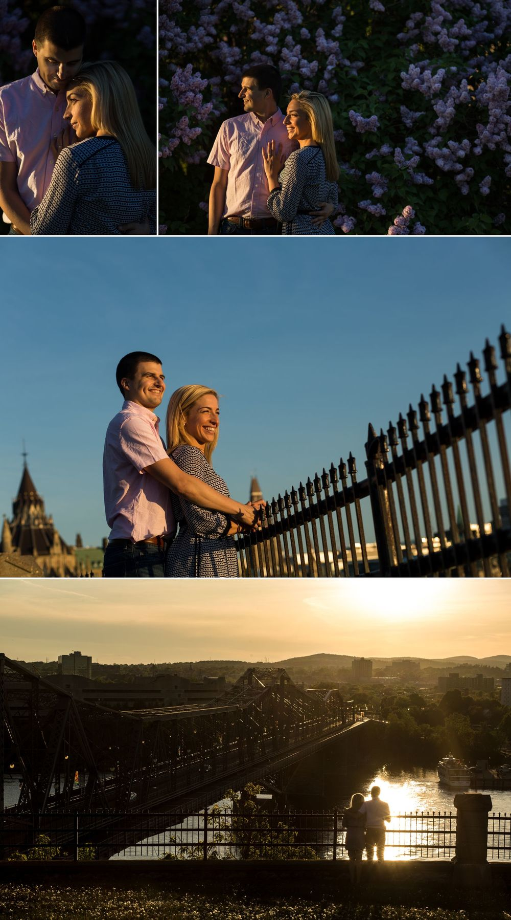 A couples engagement shoot in downtown Ottawa watching the setting sun from around Parliament Hill
