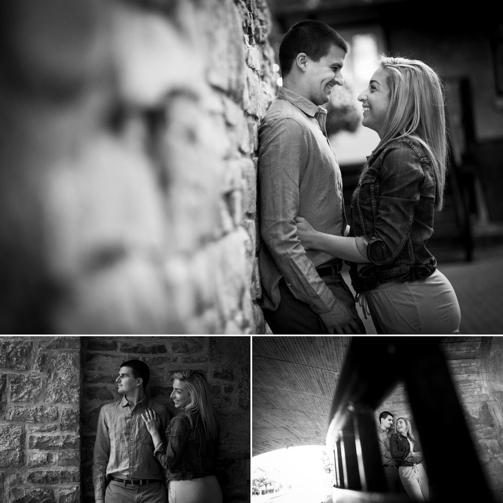 Engagement photos of a couple in downtown Ottawa