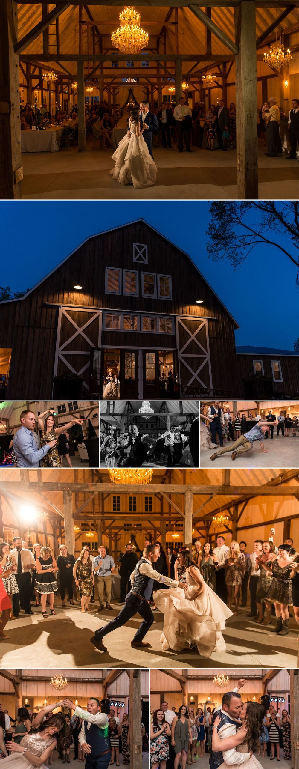 candid moments from stephanie and steve's dance party at stonefields heritage barn wedding