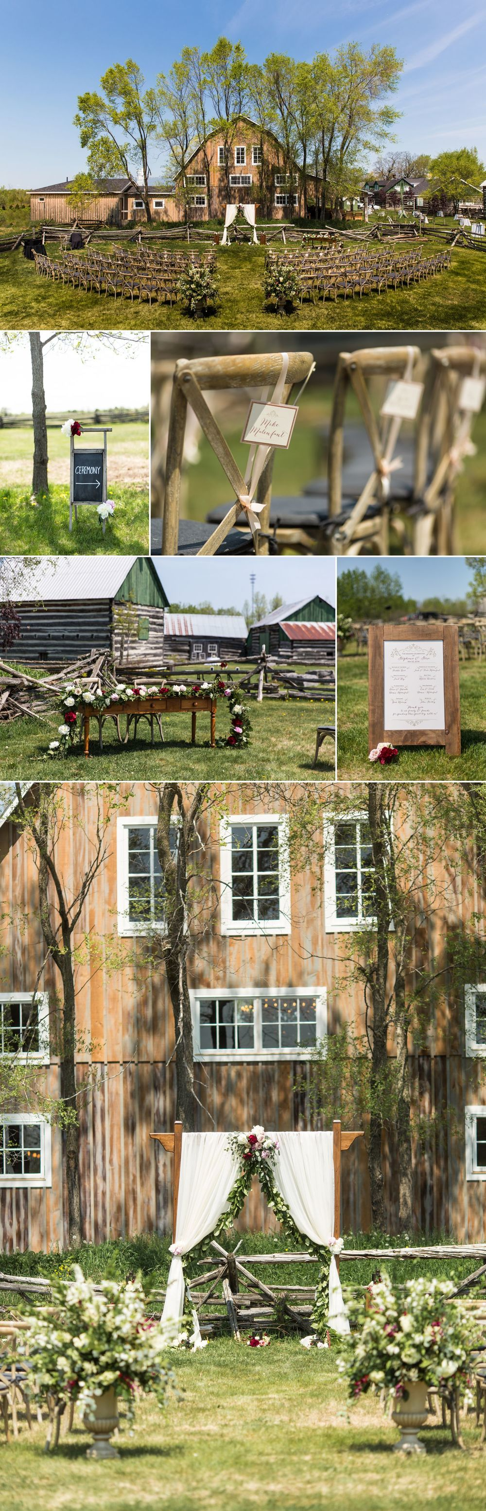 wedding ceremony details at stephanie and steve stonefields heritage barn wedding