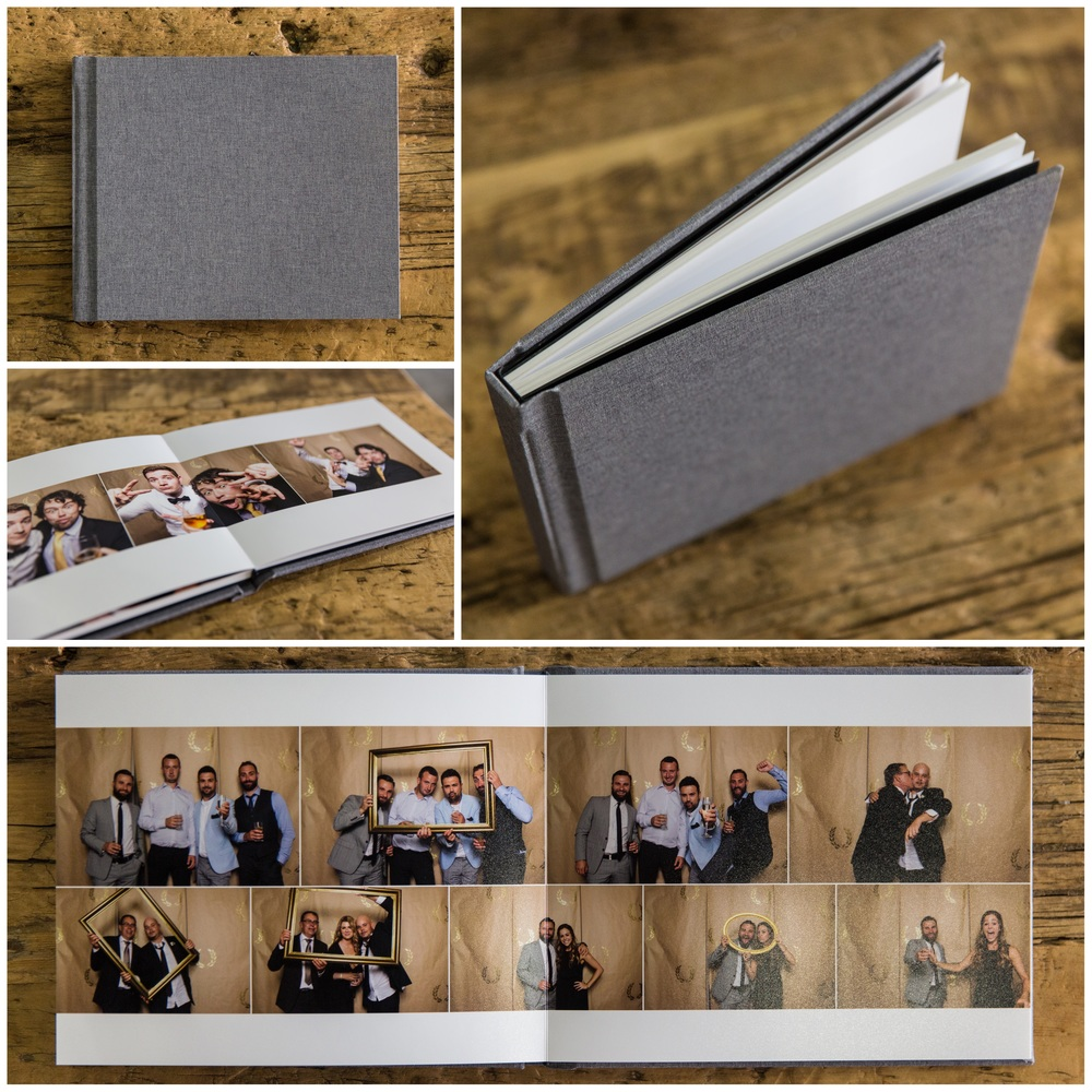 Collage of photographs of an album full of images from a photo booth