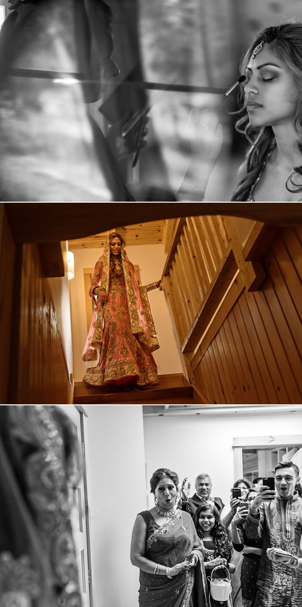 The bride while she gets ready and first coming out in her traditional Indian wedding dress