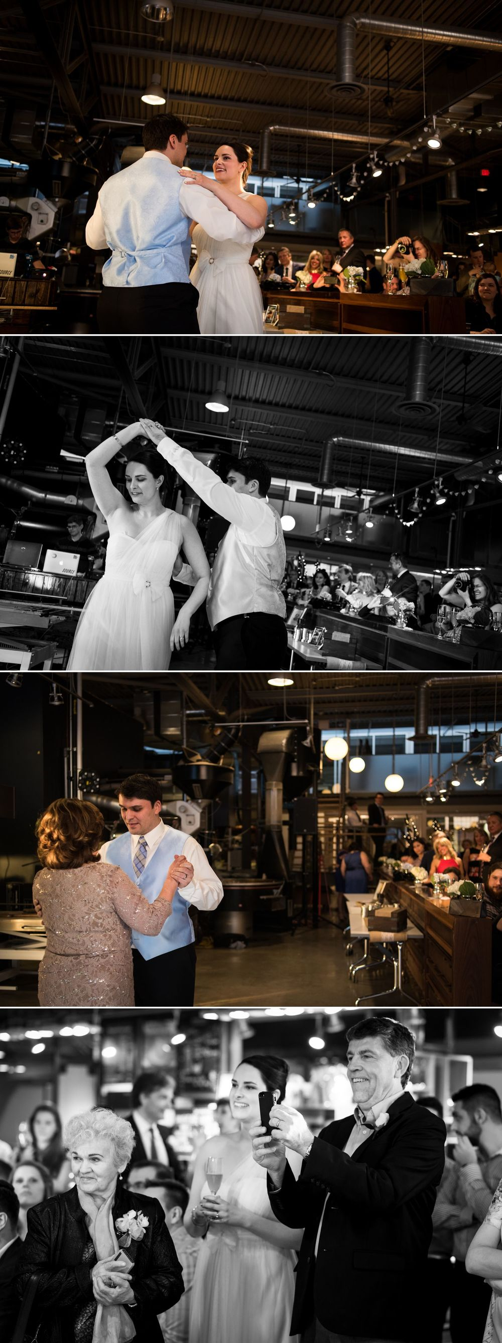First dances with the bride, groom, and mother of the groom at their Bridgehead Roastery reception
