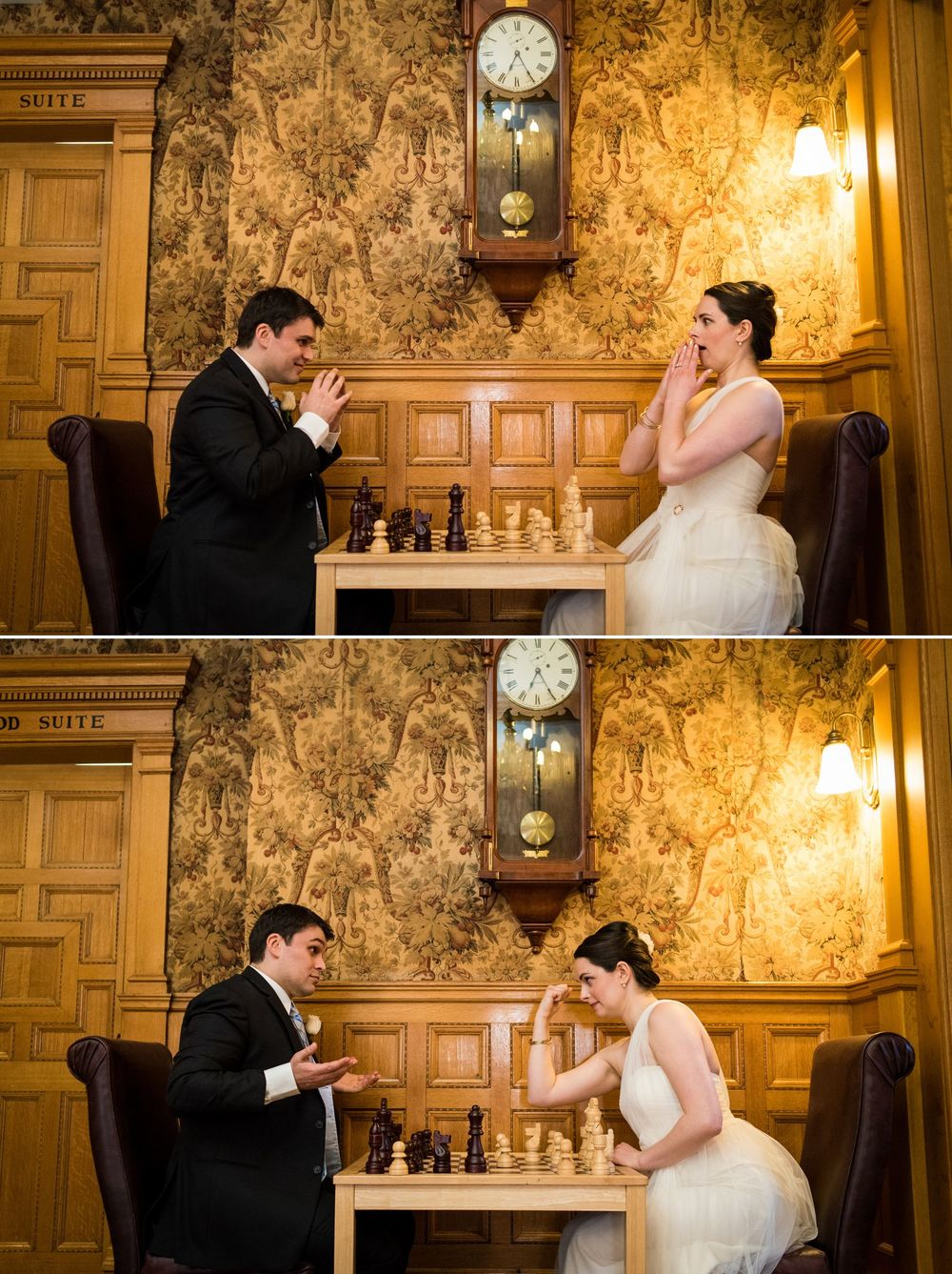 The bride and groom taking time to play a game of chess before their ceremony