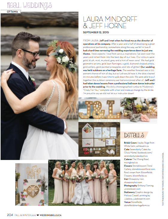 Feature Wedding in Weddingbells Magazine