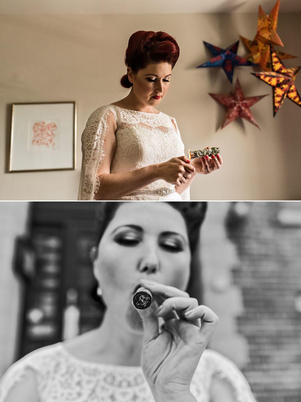 bride having smudging ceremony and also smoking a cigar
