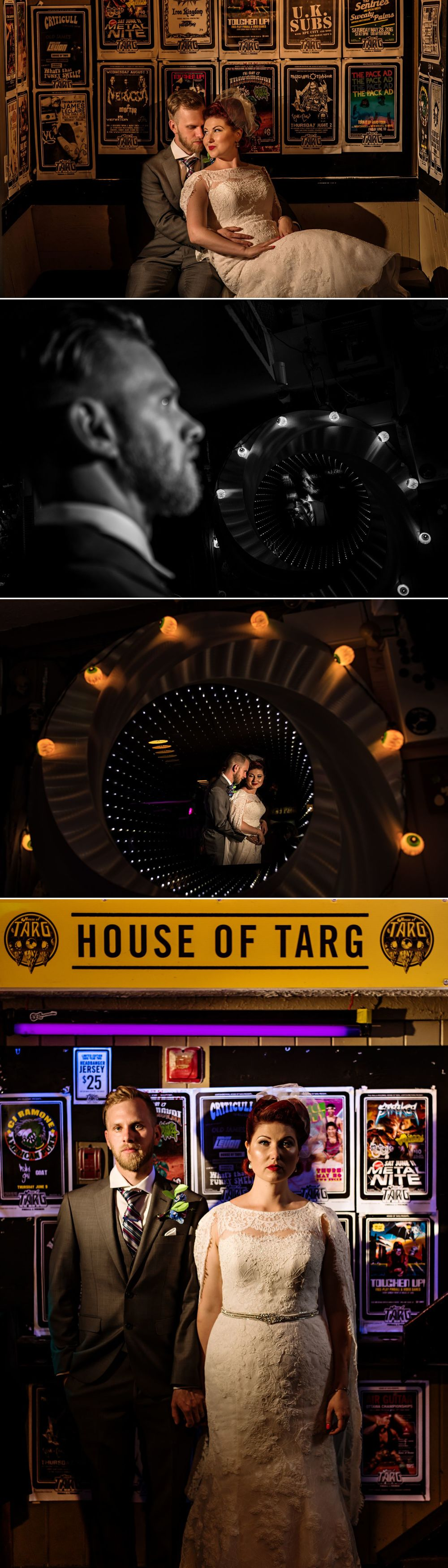bride and groom portraits inside the house of targ in ottawa
