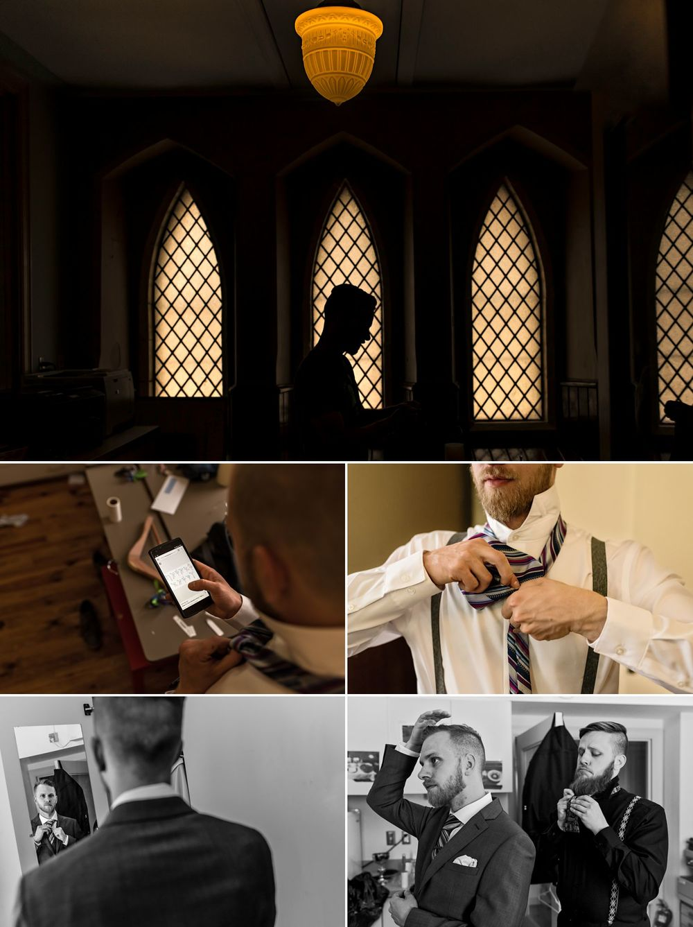 groom getting ready at st albans anglican church in ottawa