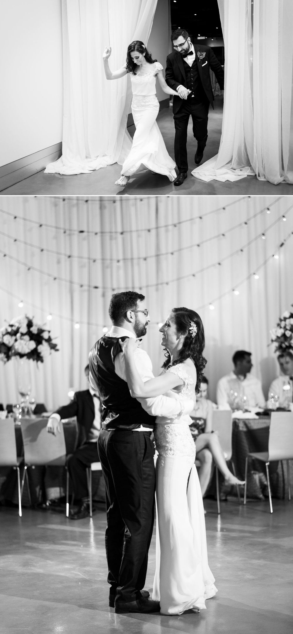 The couples entrance and first dance at their wedding reception at the Museum of Nature