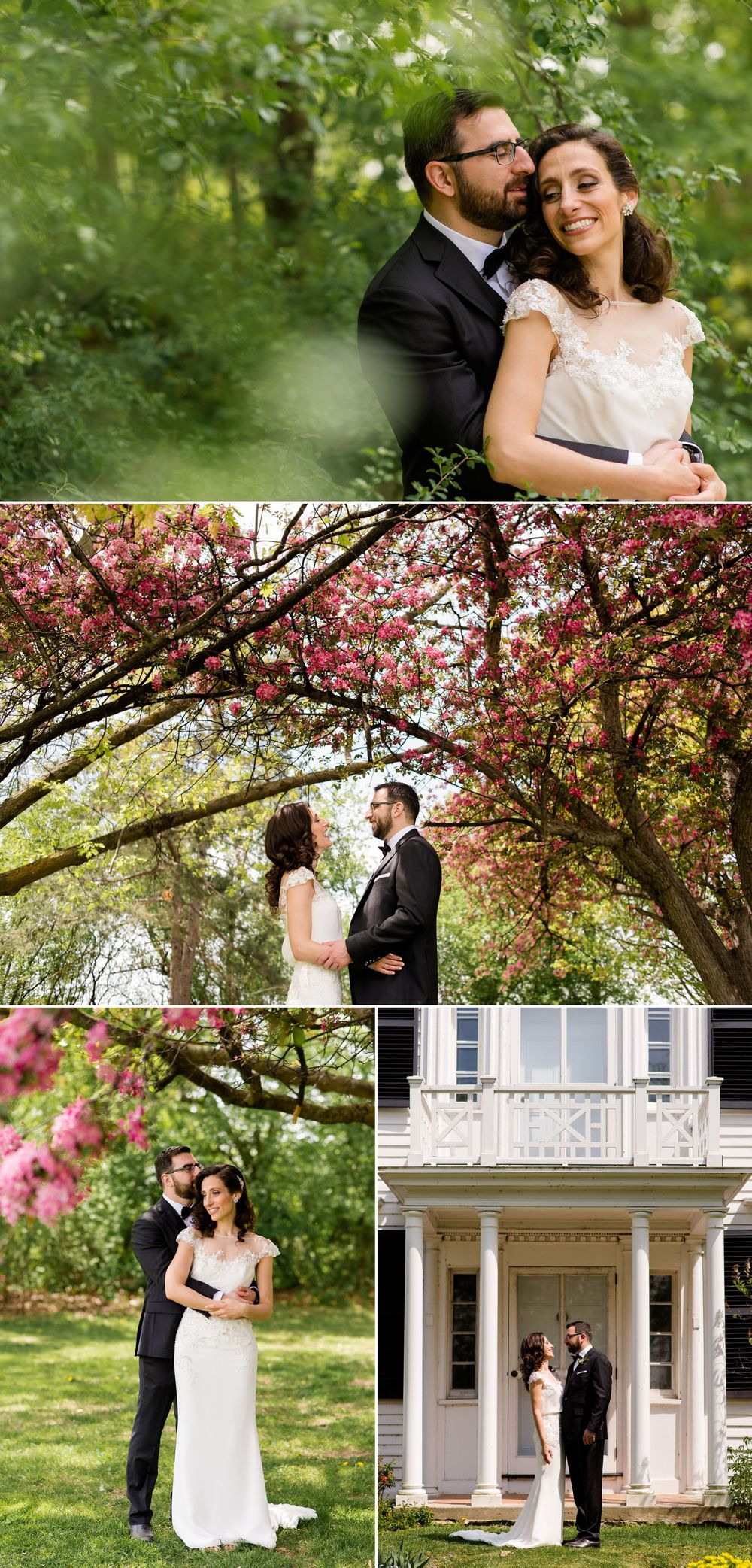 The couple having their first look photos done at Billings Estate Museum