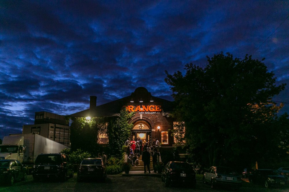 A night time portrait of the couples wedding venue - The Orange Art Galley in Ottawa's Centretown