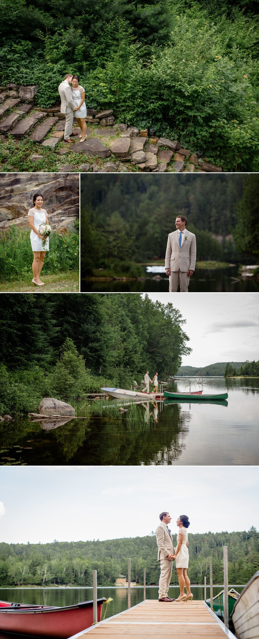 Portraits of the bride and groom during their wedding at their cottage