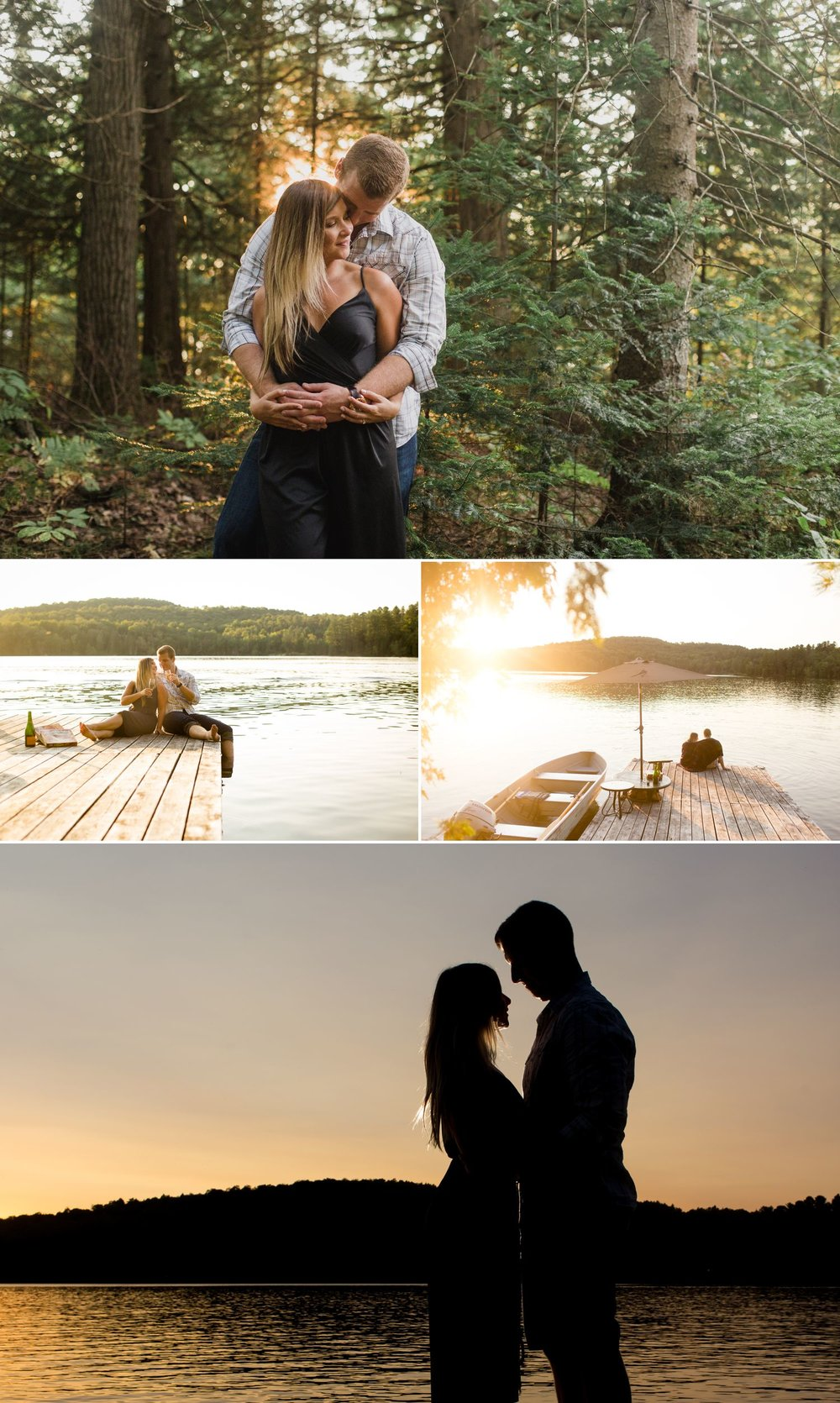 Ashley and Steve having some pizza and champagne on the dock at the cottage during their engagement shoot