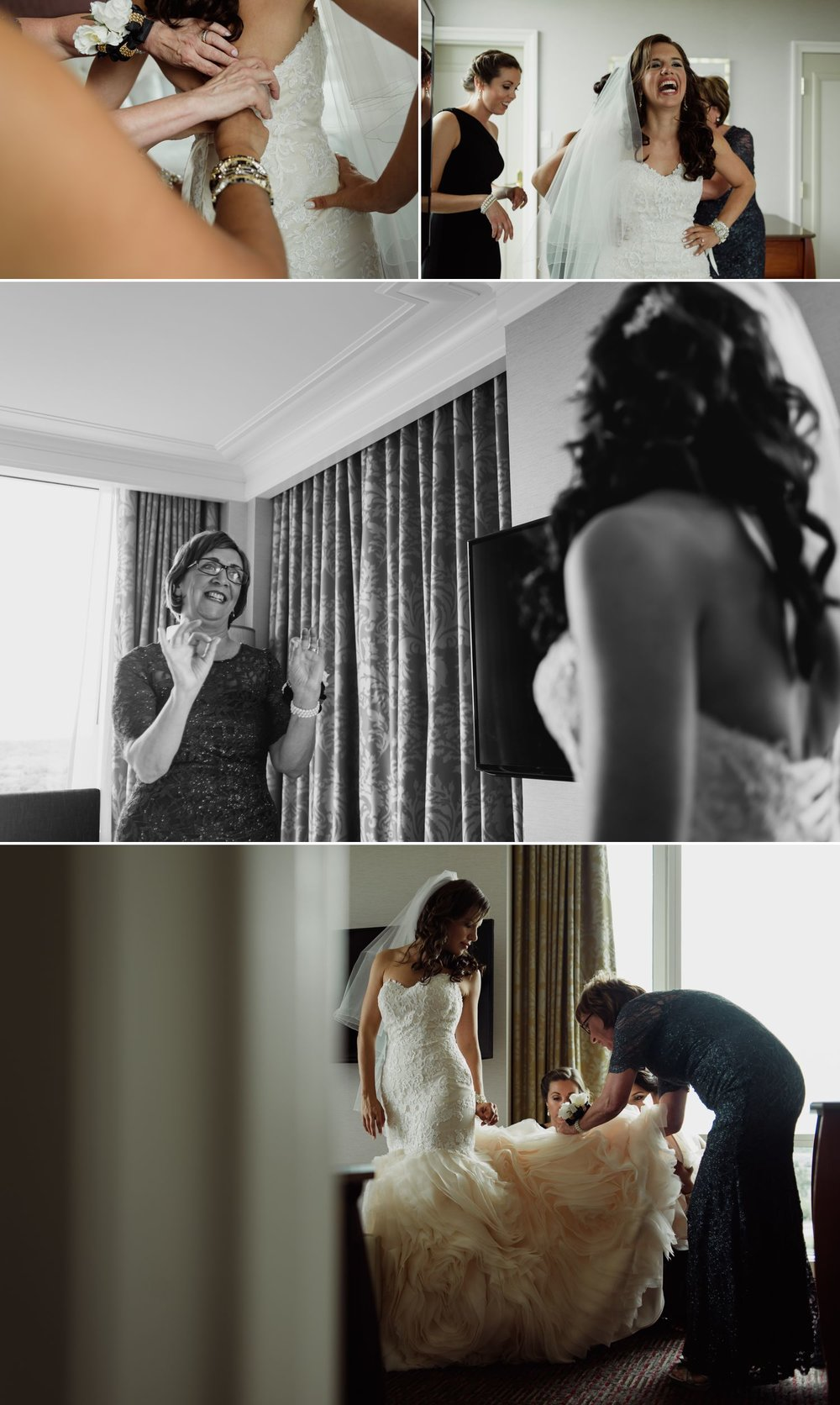 Bride getting ready with her family and bridesmaids