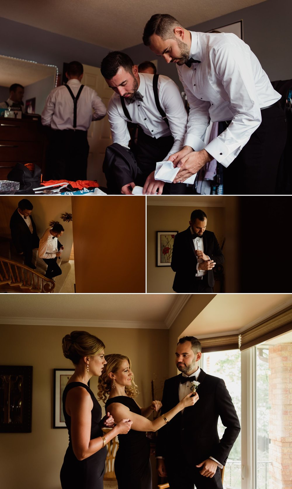 Groom getting ready at home with his family