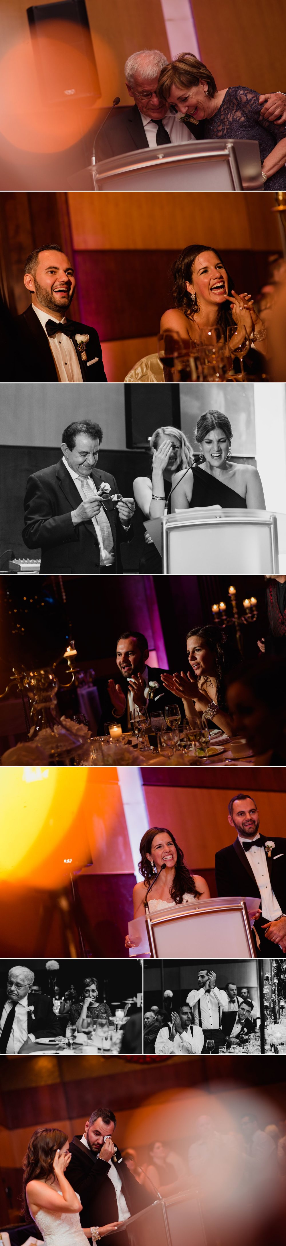 Wedding speeches by the couple and their family at their Hilton wedding reception