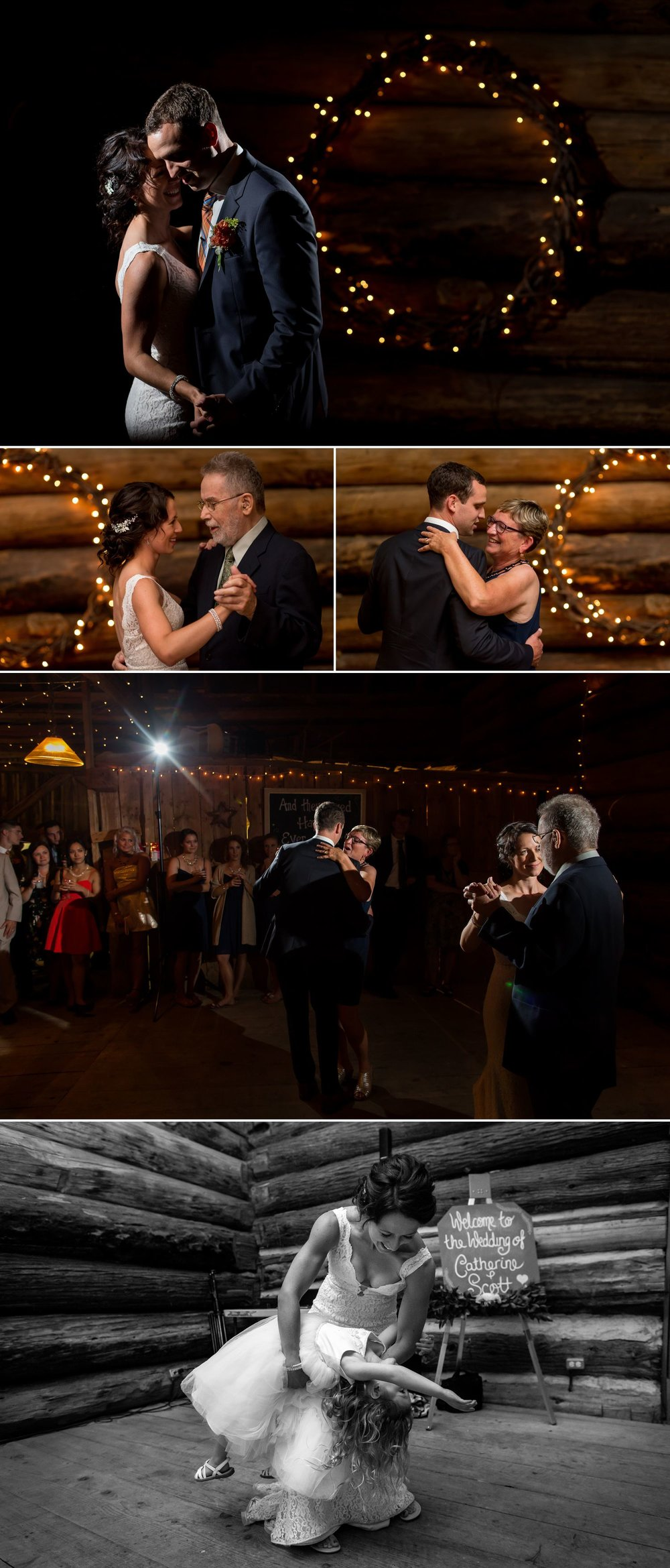 The couple and their parents during their first dances at their wedding reception at The Herb Garden