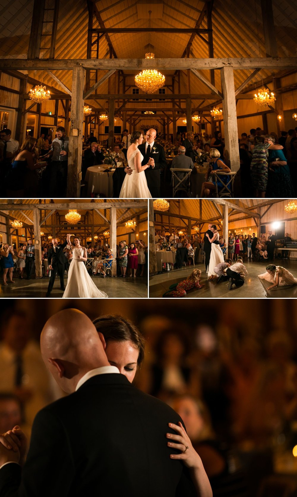 The bride and groom's first dance.