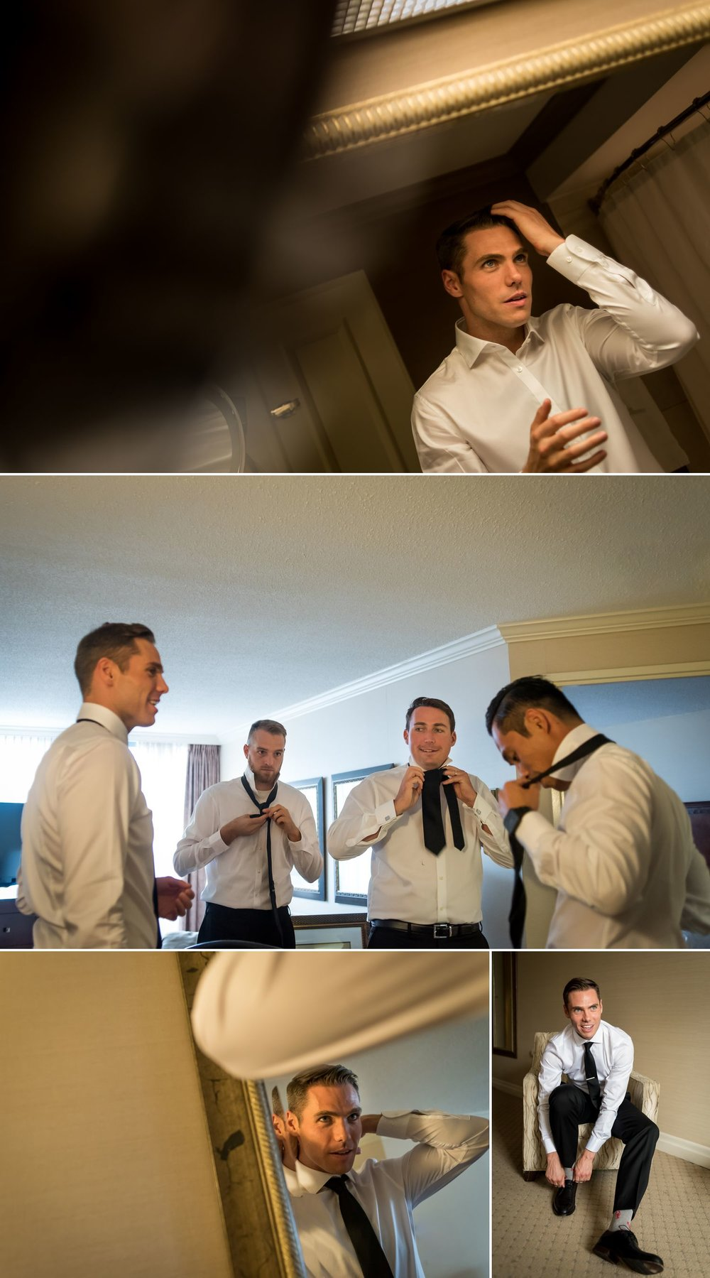 Groom and his groomsmen getting ready at the Albert at Bay Hotel, Ottawa
