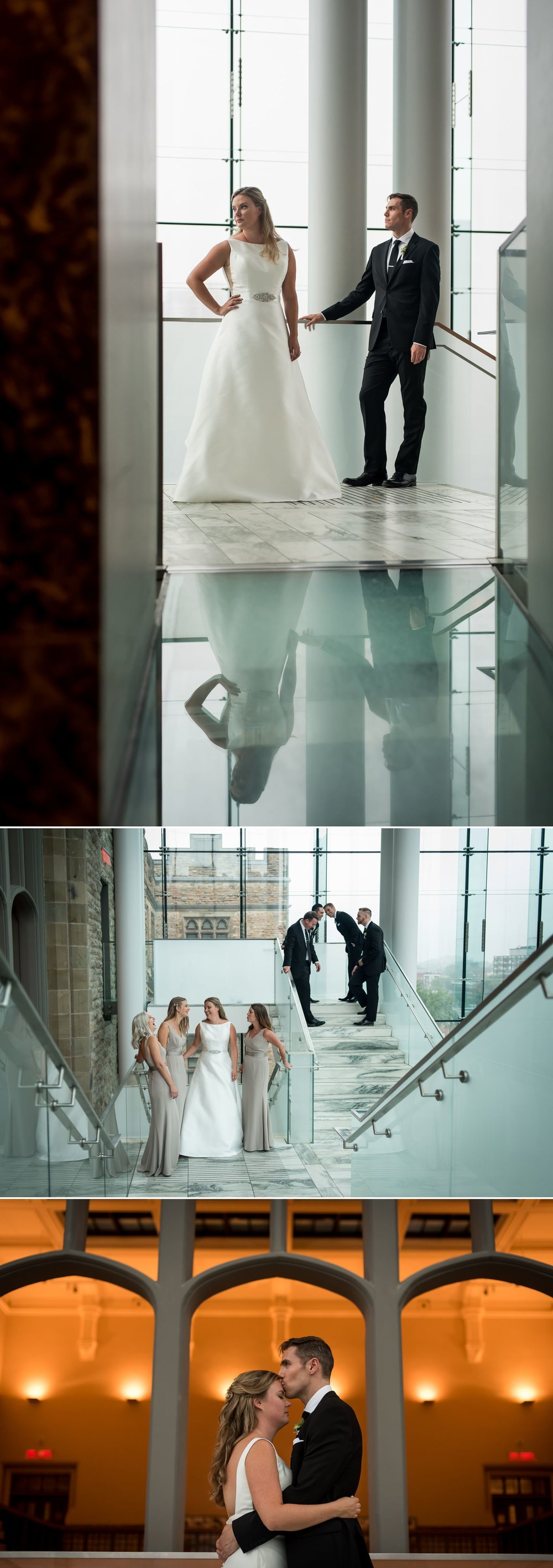 Portraits of the bride and groom and their wedding party at the Museum of Nature