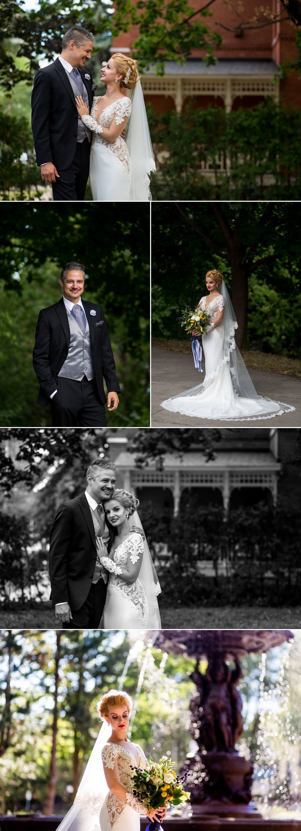 Portraits of the bride and groom after their wedding ceremony at Le Cordon Bleu