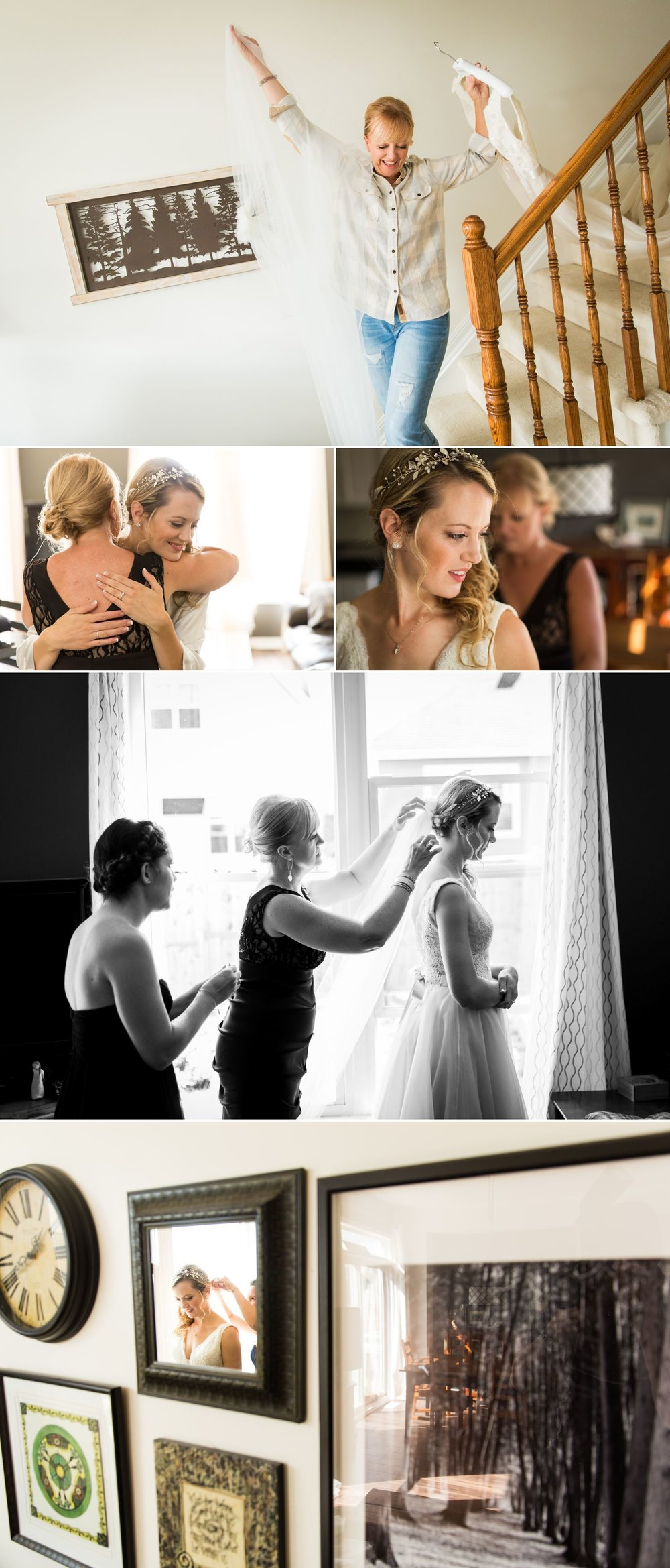 The bride getting ready at home with her bridesmaid and mother