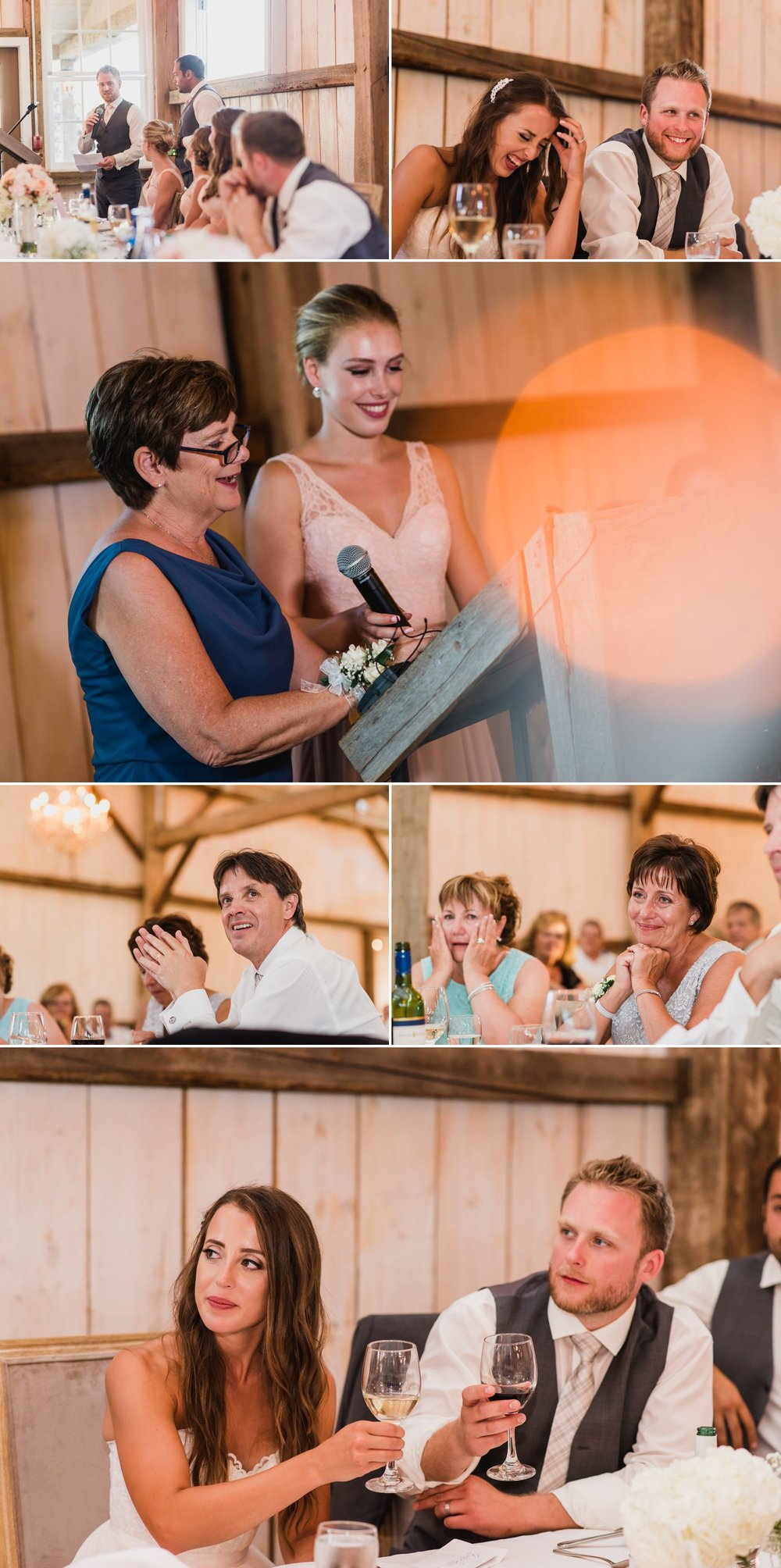 The bride and groom enjoying their wedding speeches during their wedding reception at Stonefields Heritage Farm