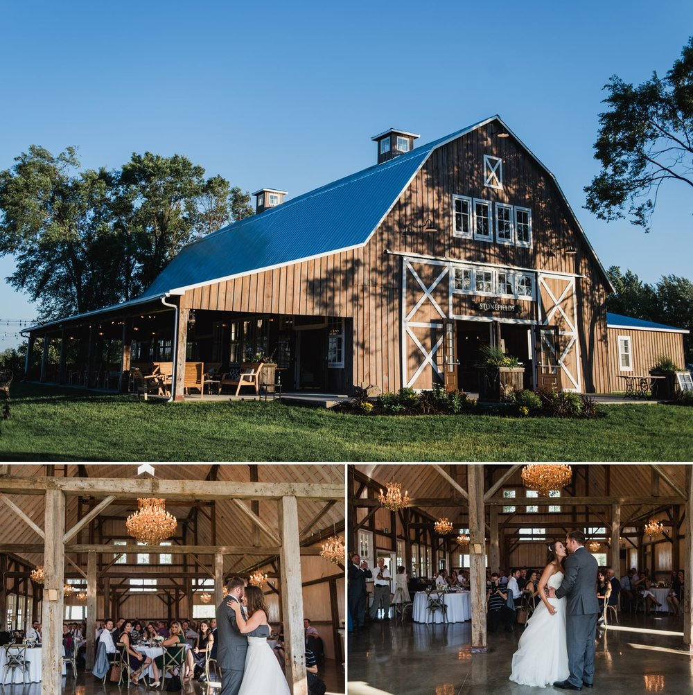 The bride and groom during their first dance at Stonefields Heritage Farm