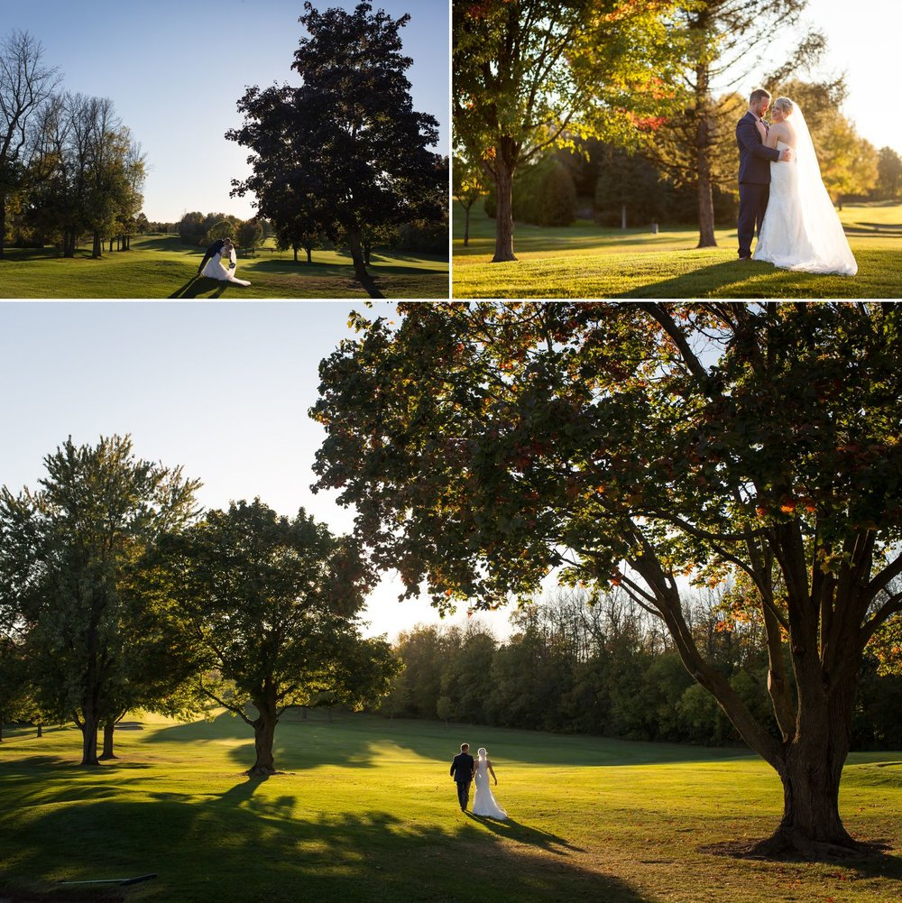 Portraits of the bride and groom on the Rideau View Golf Course
