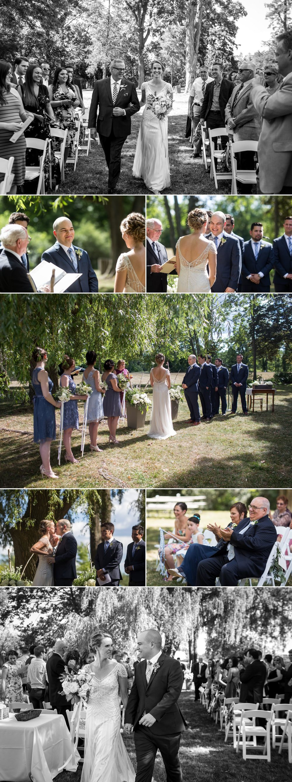 A outdoor wedding ceremony taking place at Ruthven Heritage Estate