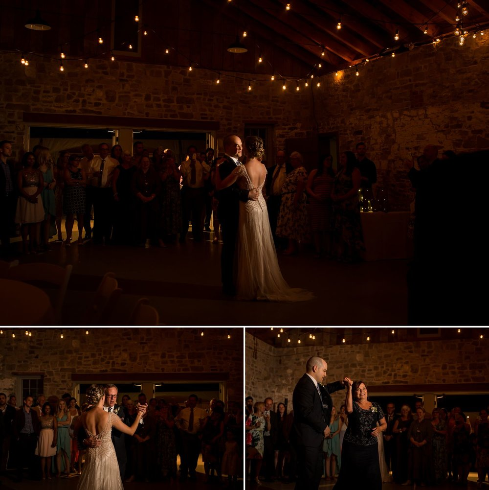 The couples first dance during their wedding reception inside the stone carriage house at Ruthven Heritage Estate