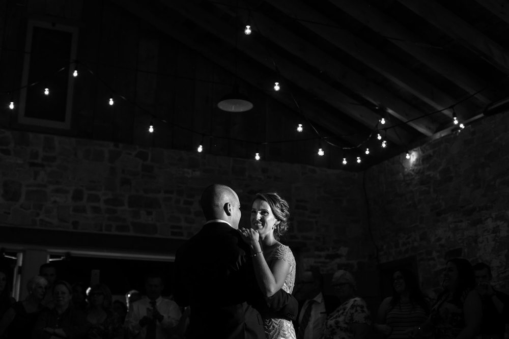 A portrait of the couple during their first dance at Ruthven Heritage Estate