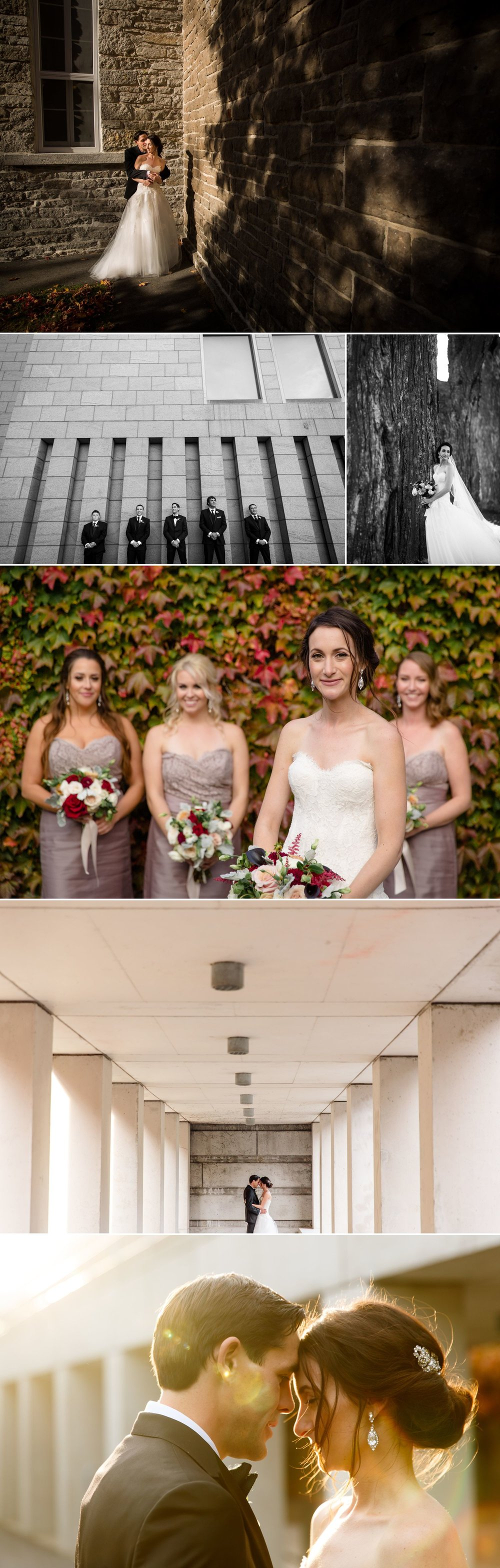 Wedding party group photographs at the national art gallery in ottawa